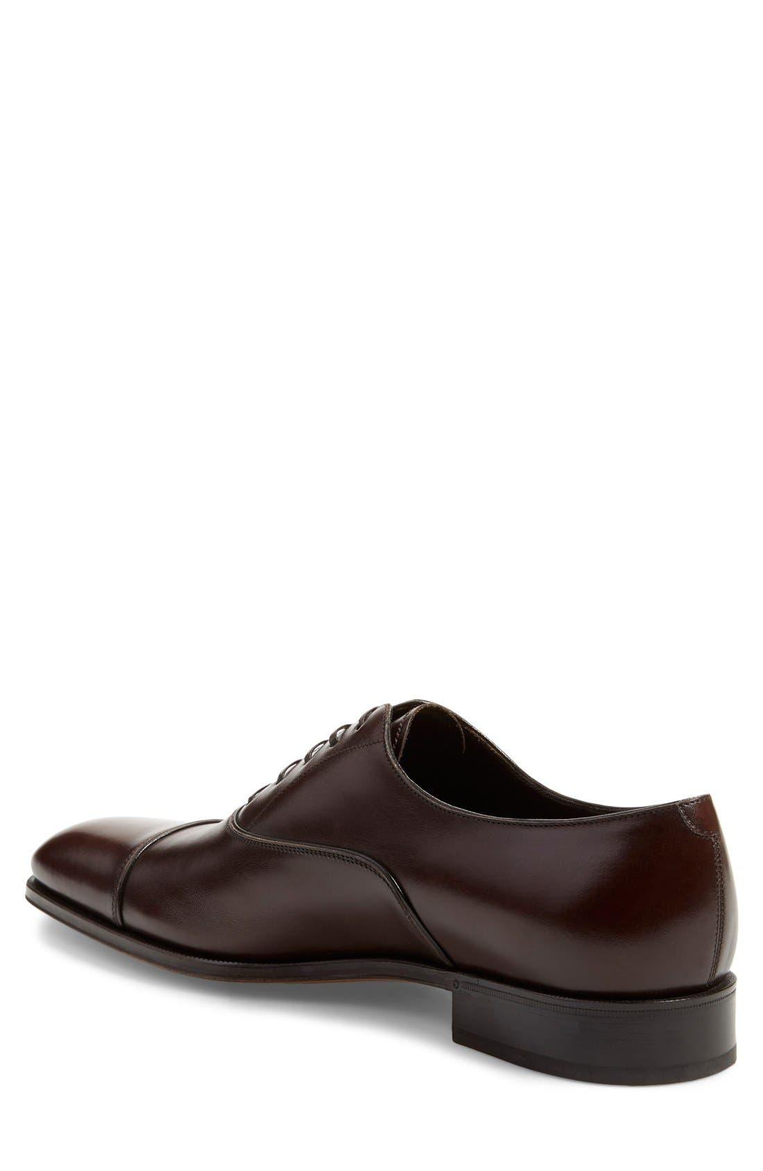 Luce Cap Toe Oxford,                             Alternate thumbnail 2, color,                             Auburn Leather