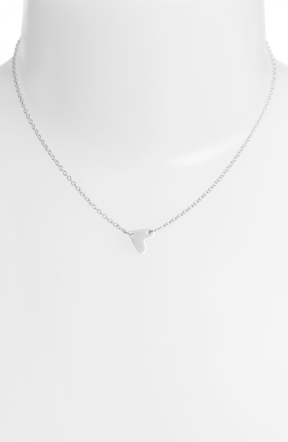 Mini Heart Pendant Choker,                             Alternate thumbnail 2, color,                             Silver