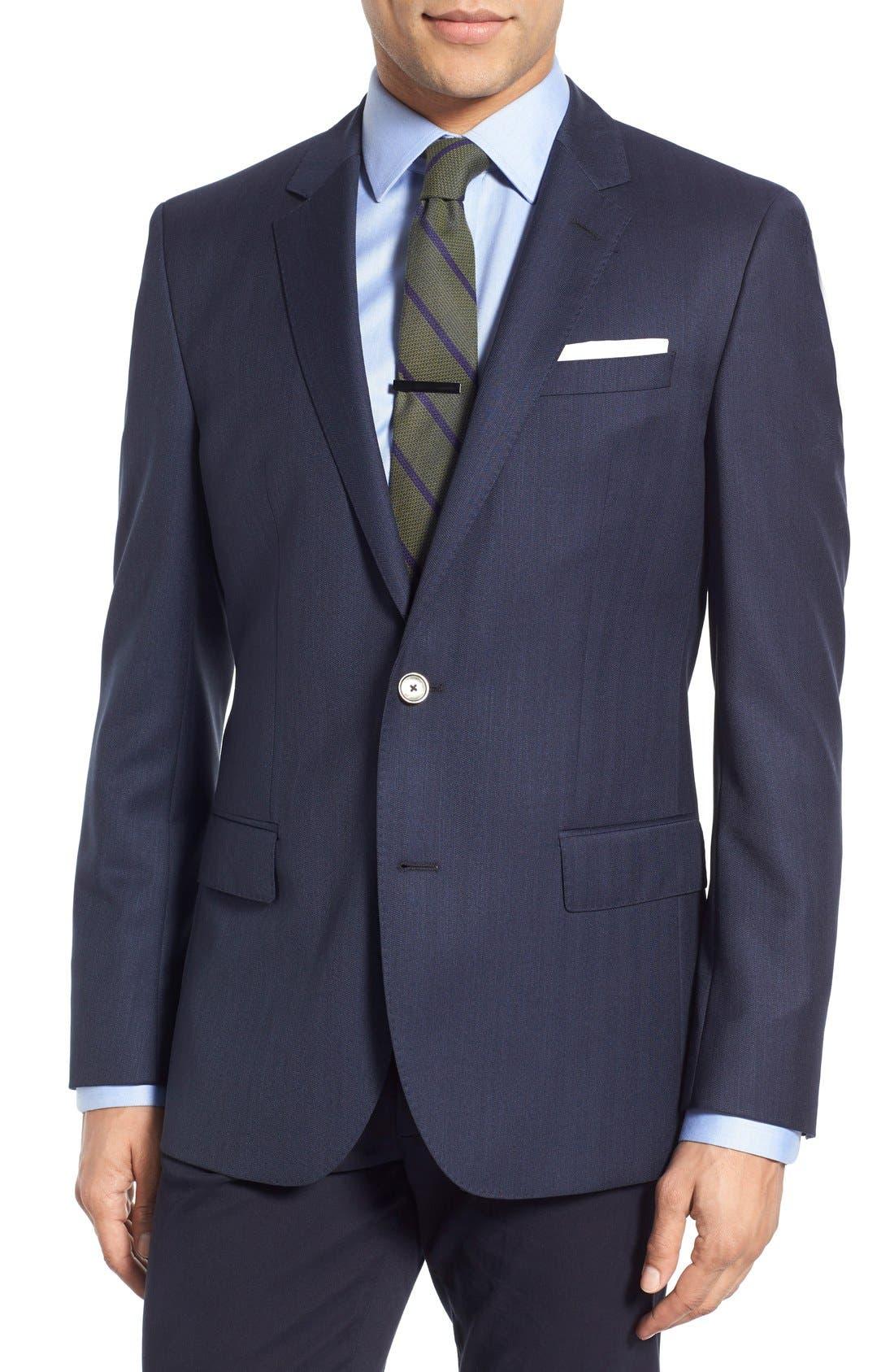 Hutsons Trim Fit Herringbone Wool Sport Coat,                         Main,                         color, Navy