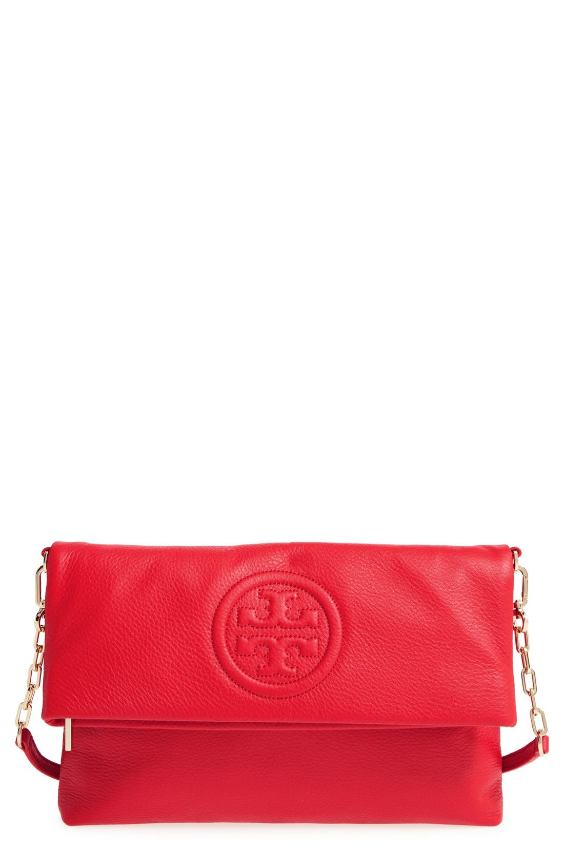 Alternate Image 1 Selected - Tory Burch 'Bombé' Leather Foldover Clutch