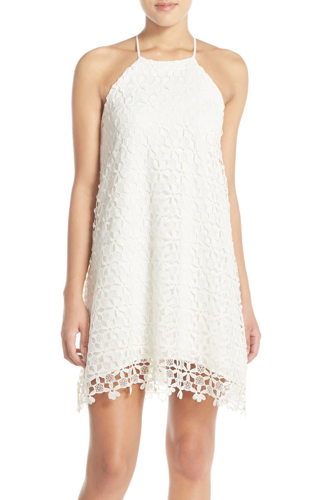 Floral Lace Trapeze Halter Dress,                             Main thumbnail 1, color,                             White Snow