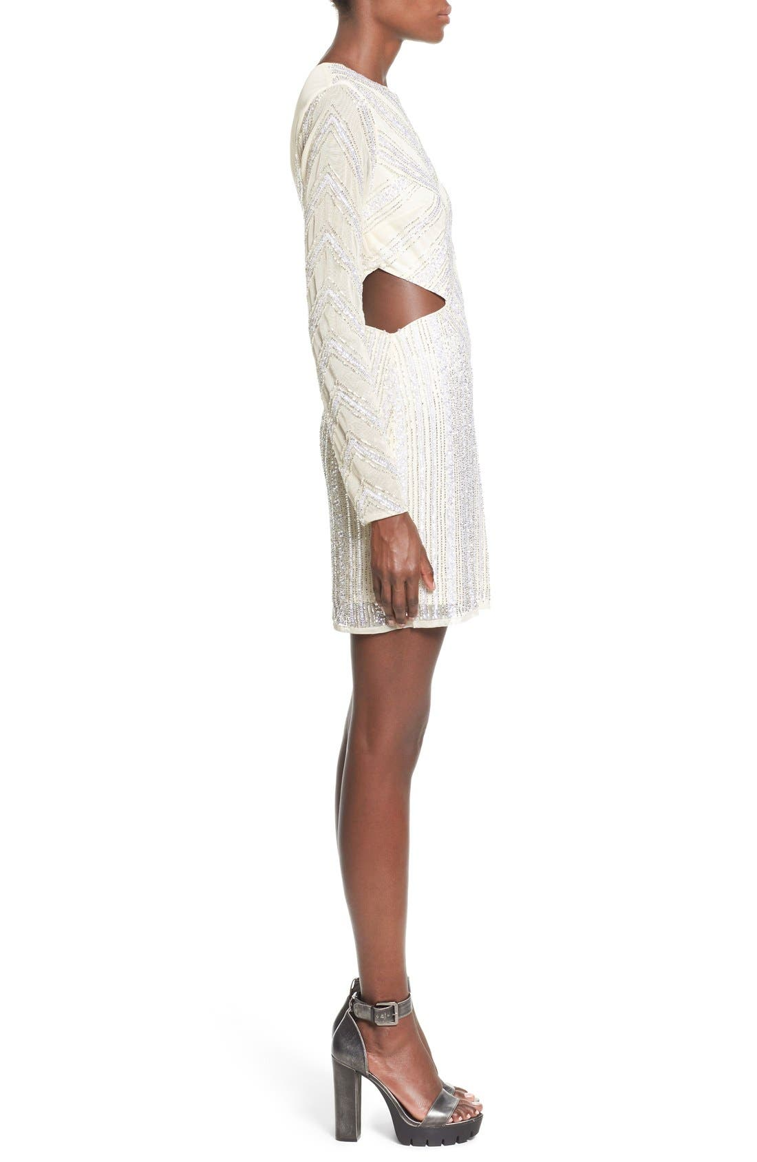 Embellished Cutout Sheath Dress,                             Alternate thumbnail 3, color,                             White
