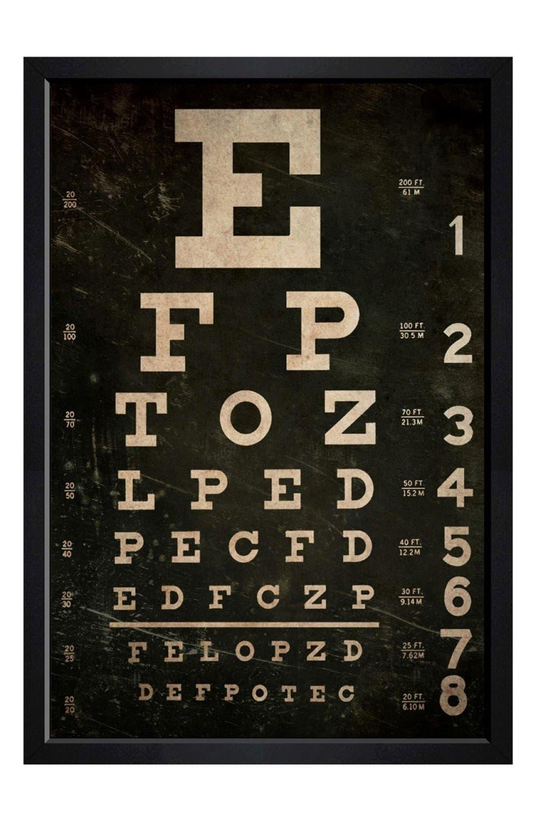 'Eye Test' Framed Canvas Print,                             Main thumbnail 1, color,                             Black