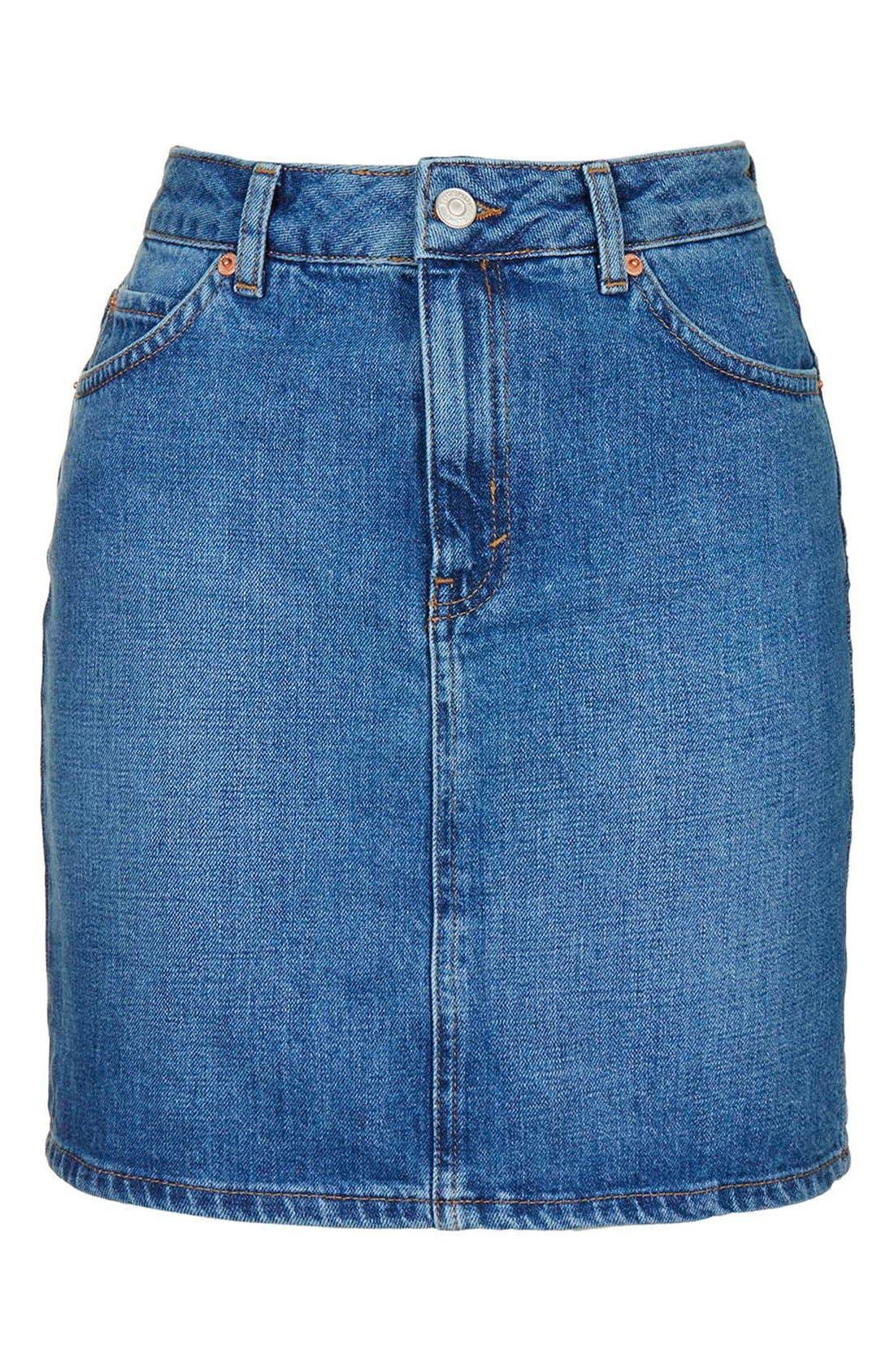 Alternate Image 5  - Topshop High Waist Denim Miniskirt