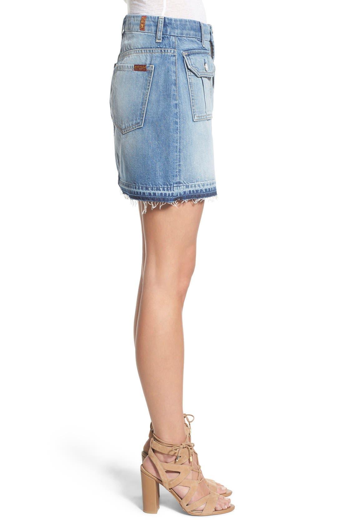 Alternate Image 3  - 7 For All Mankind® Utility Pocket Denim Miniskirt (Vintage Coronado Springs)