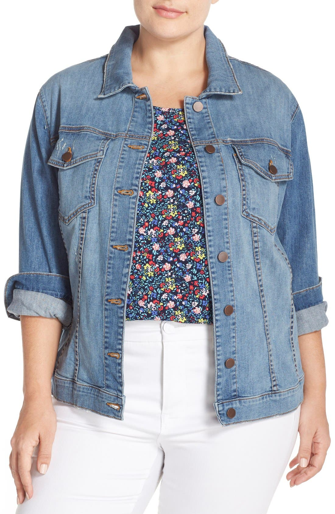 Main Image - KUT from the Kloth Helena Distressed Denim Jacket (Plus Size)