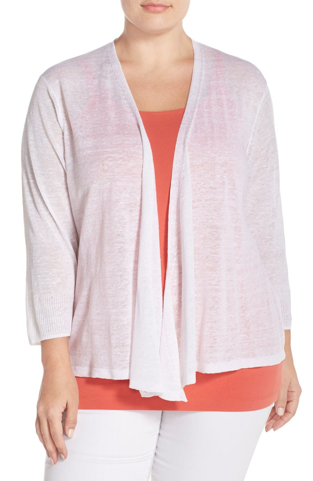 '4-Way' Three Quarter Sleeve Convertible Cardigan,                         Main,                         color, Paper White
