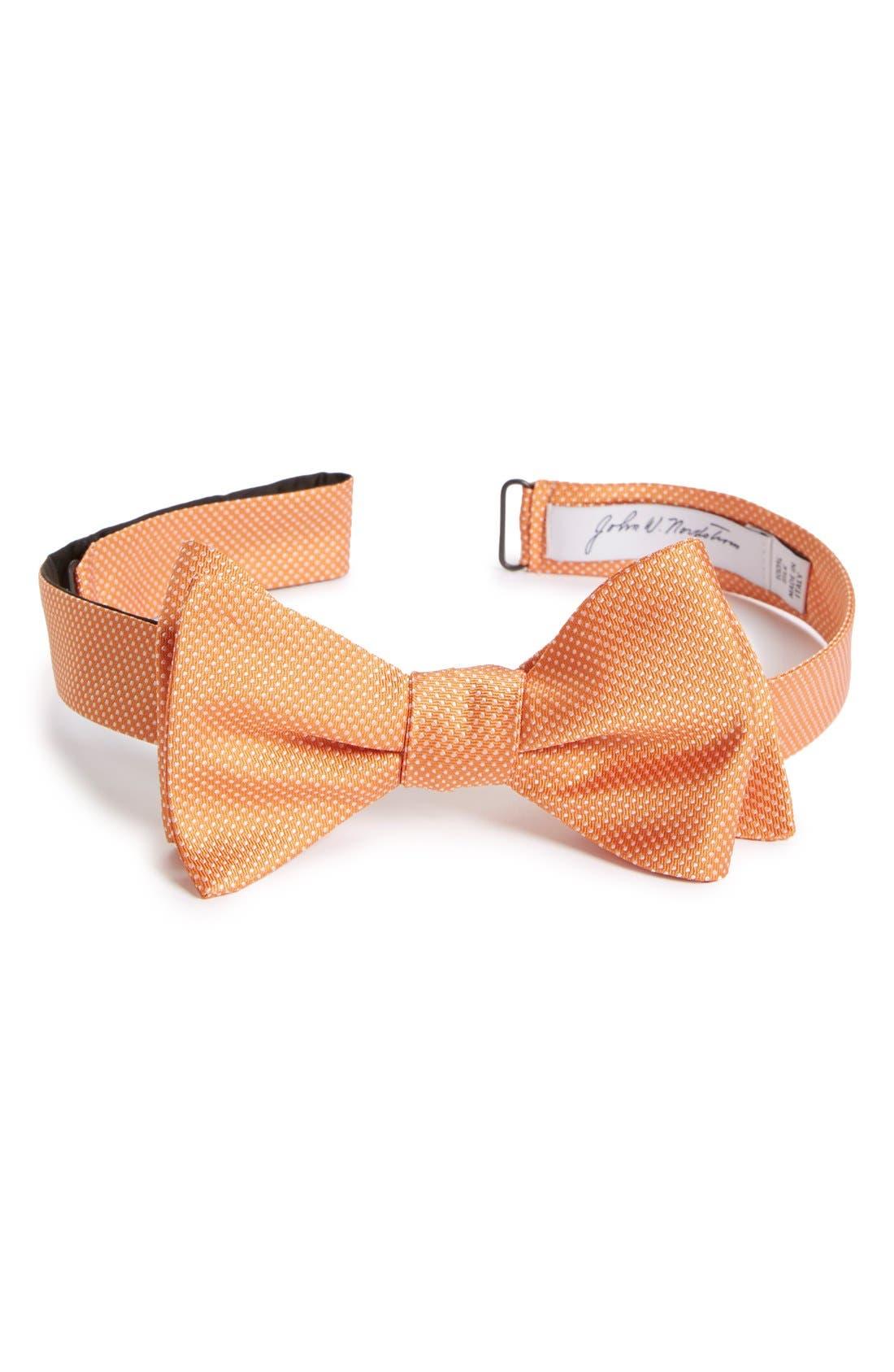 Dot Silk Bow Tie,                         Main,                         color, Orange