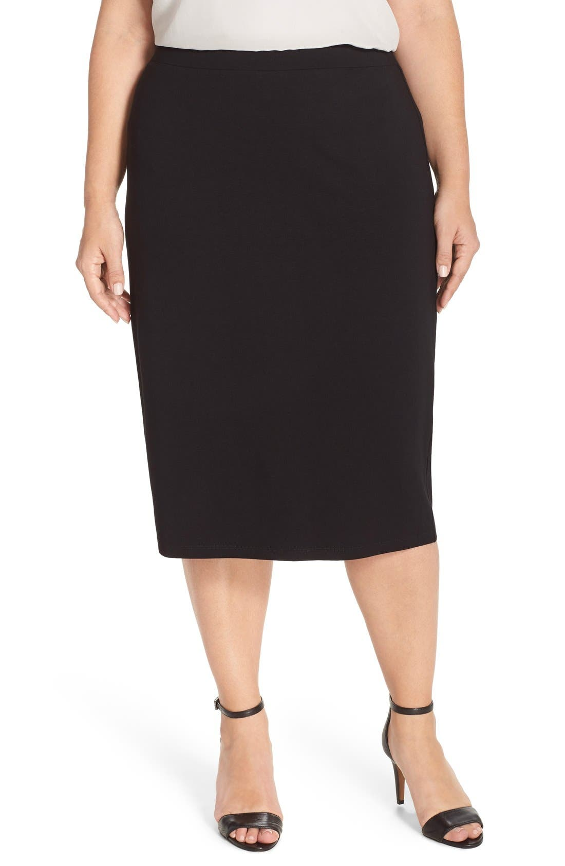 eileen fisher stretch jersey pencil skirt plus size