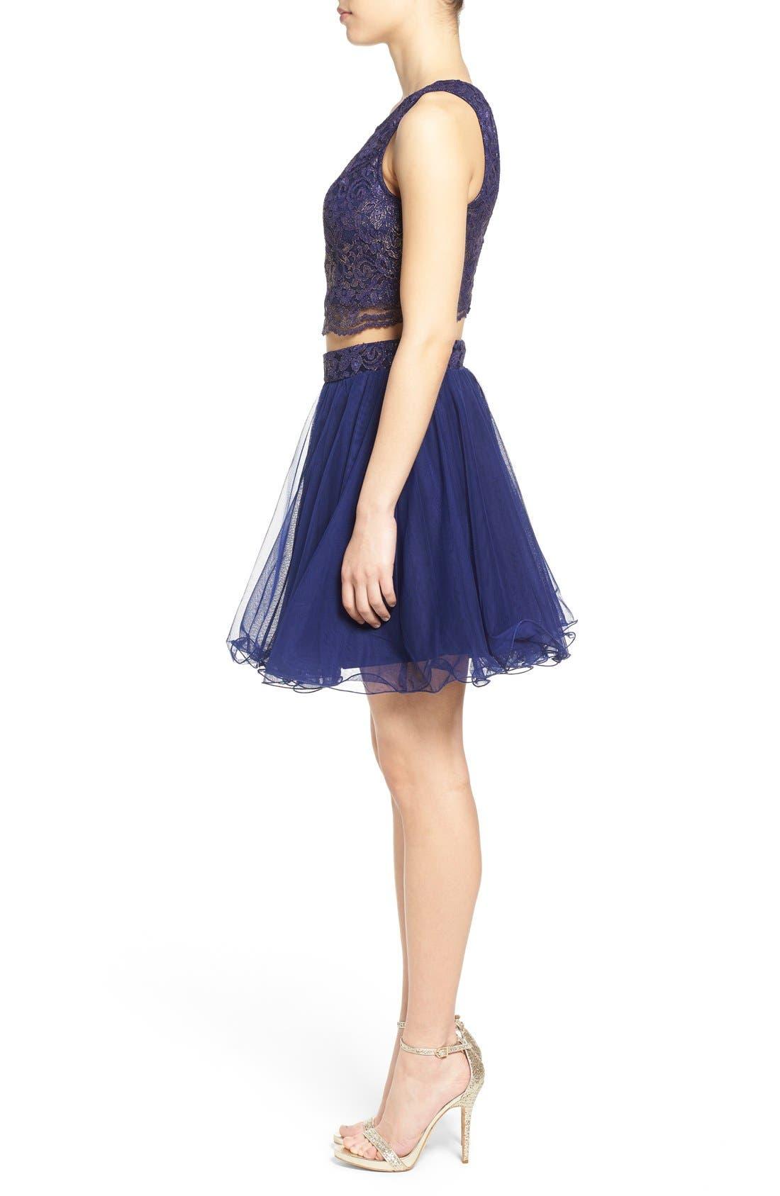 Alternate Image 3  - Secret Charm 'Gina' Metallic Lace Two-Piece Skater Dress