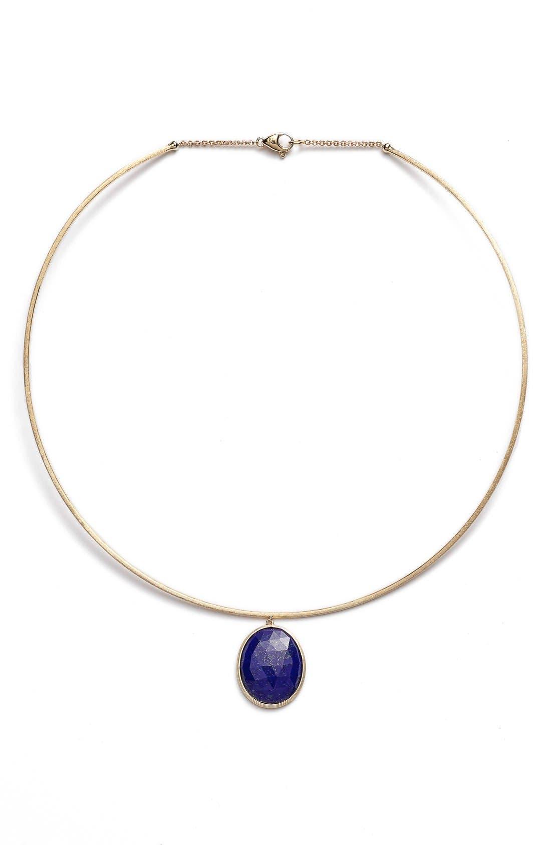 'Lunaria' Lapis Collar Necklace,                             Main thumbnail 1, color,                             Yellow Gold/ Lapis