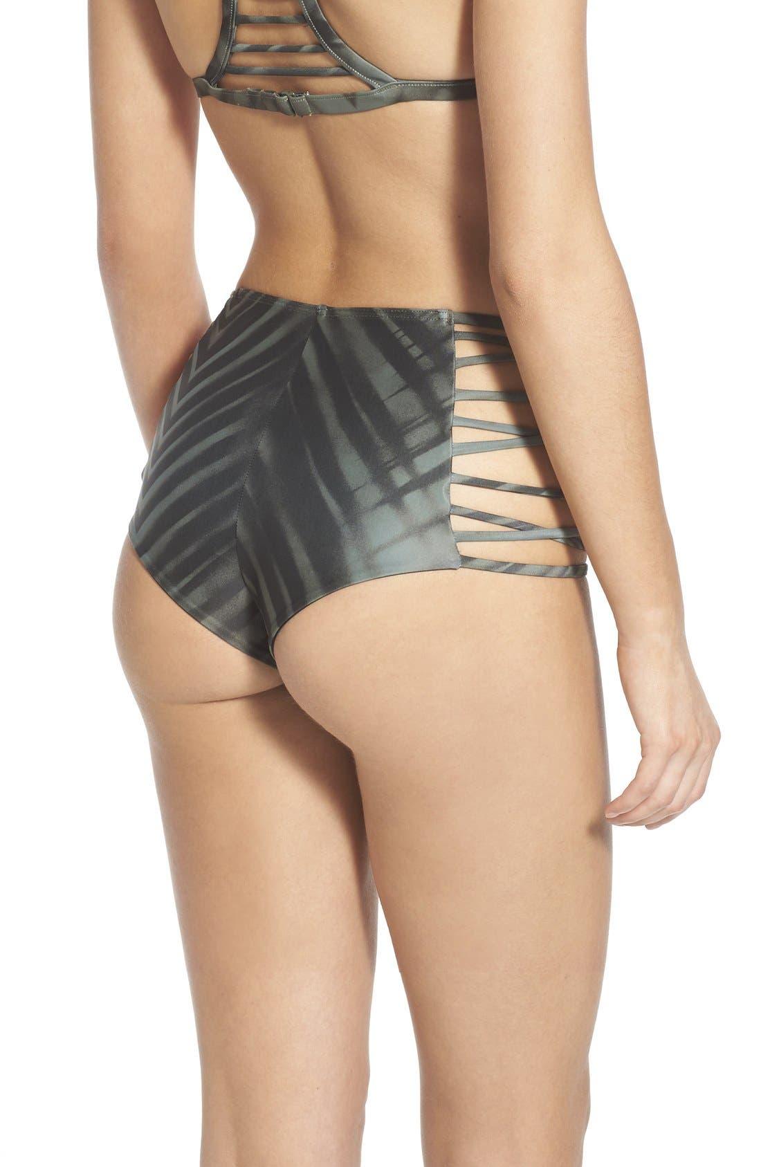 Alternate Image 2  - RVCA 'Palm' Print High Waist Cheeky Bikini Bottoms