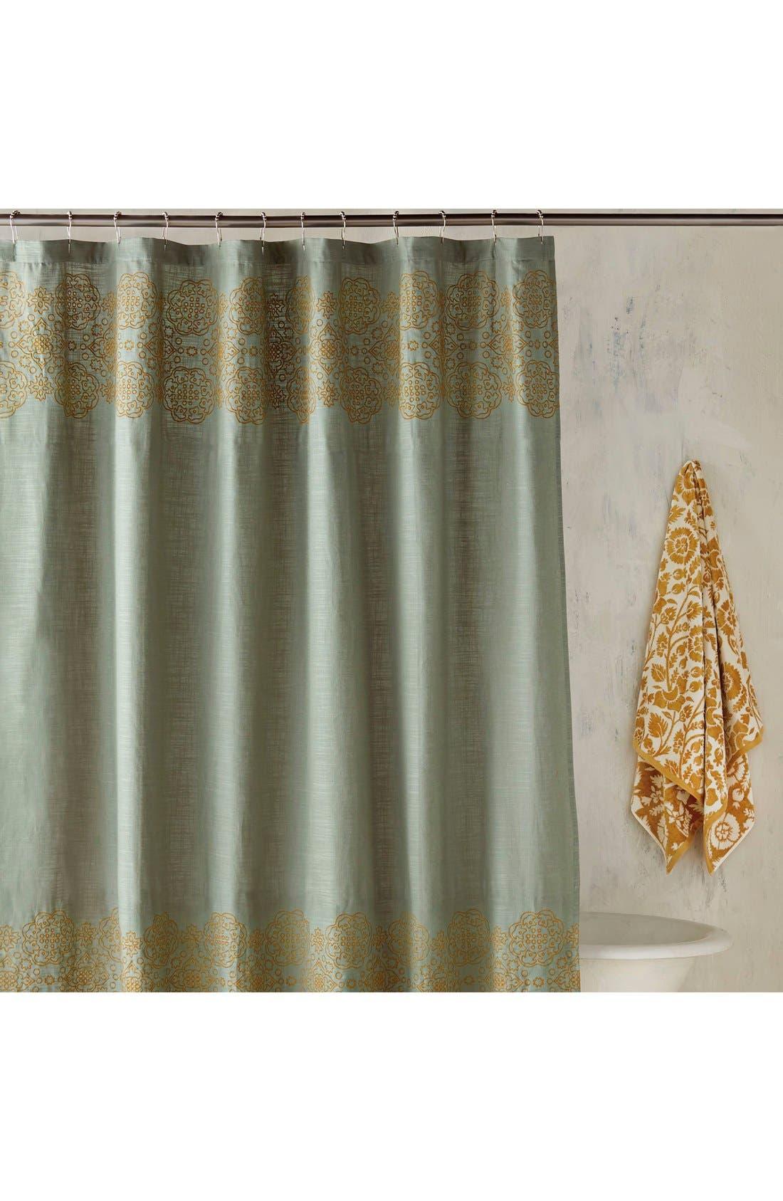 'Ajrak' Shower Curtain,                         Main,                         color, Jade/ Gold