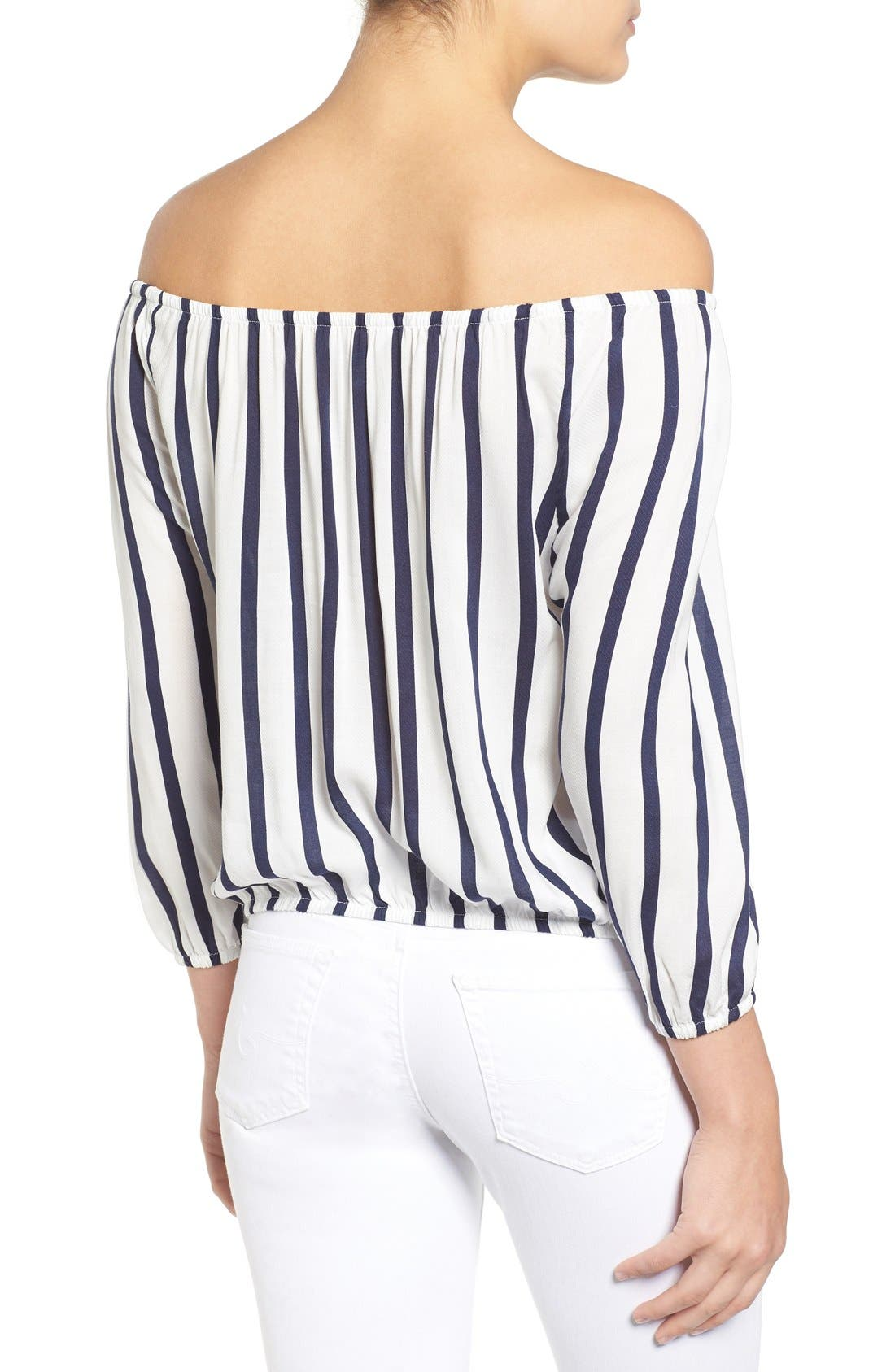 Alternate Image 3  - cupcakes and cashmere 'Eleni' Stripe Off the Shoulder Top