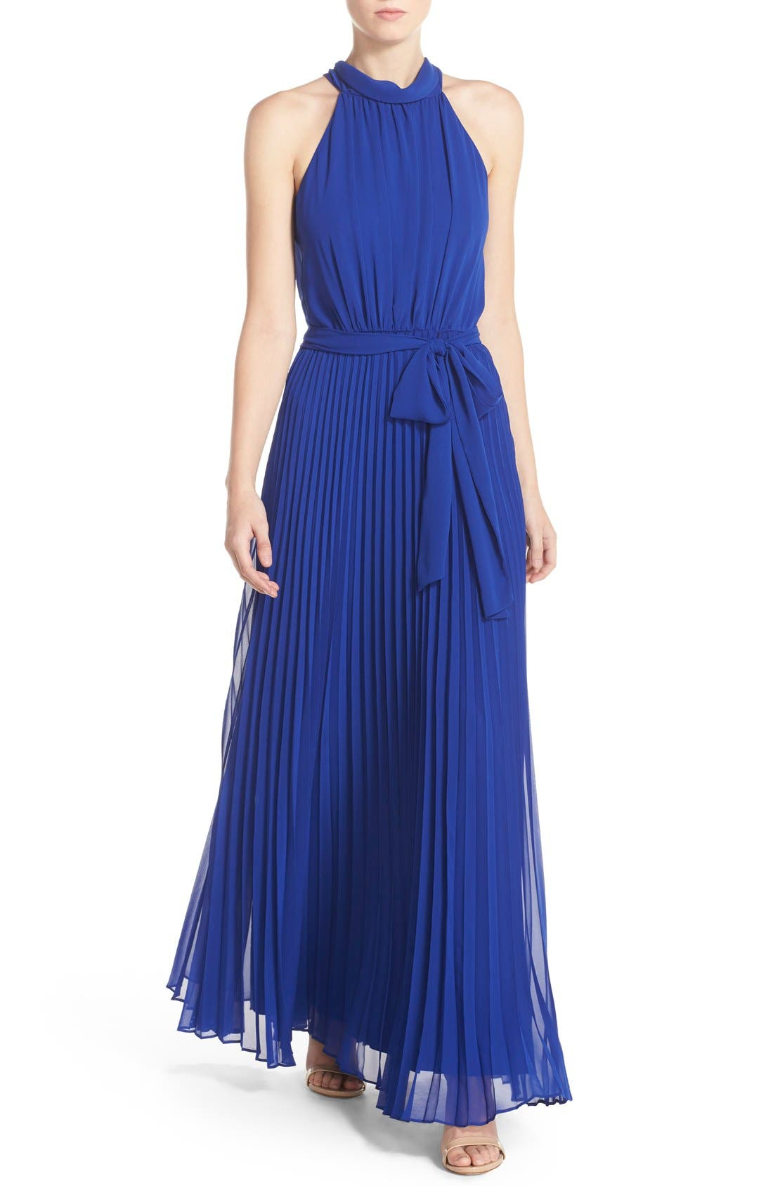 Pleated Chiffon Maxi Dress,                         Main,                         color, Cobalt