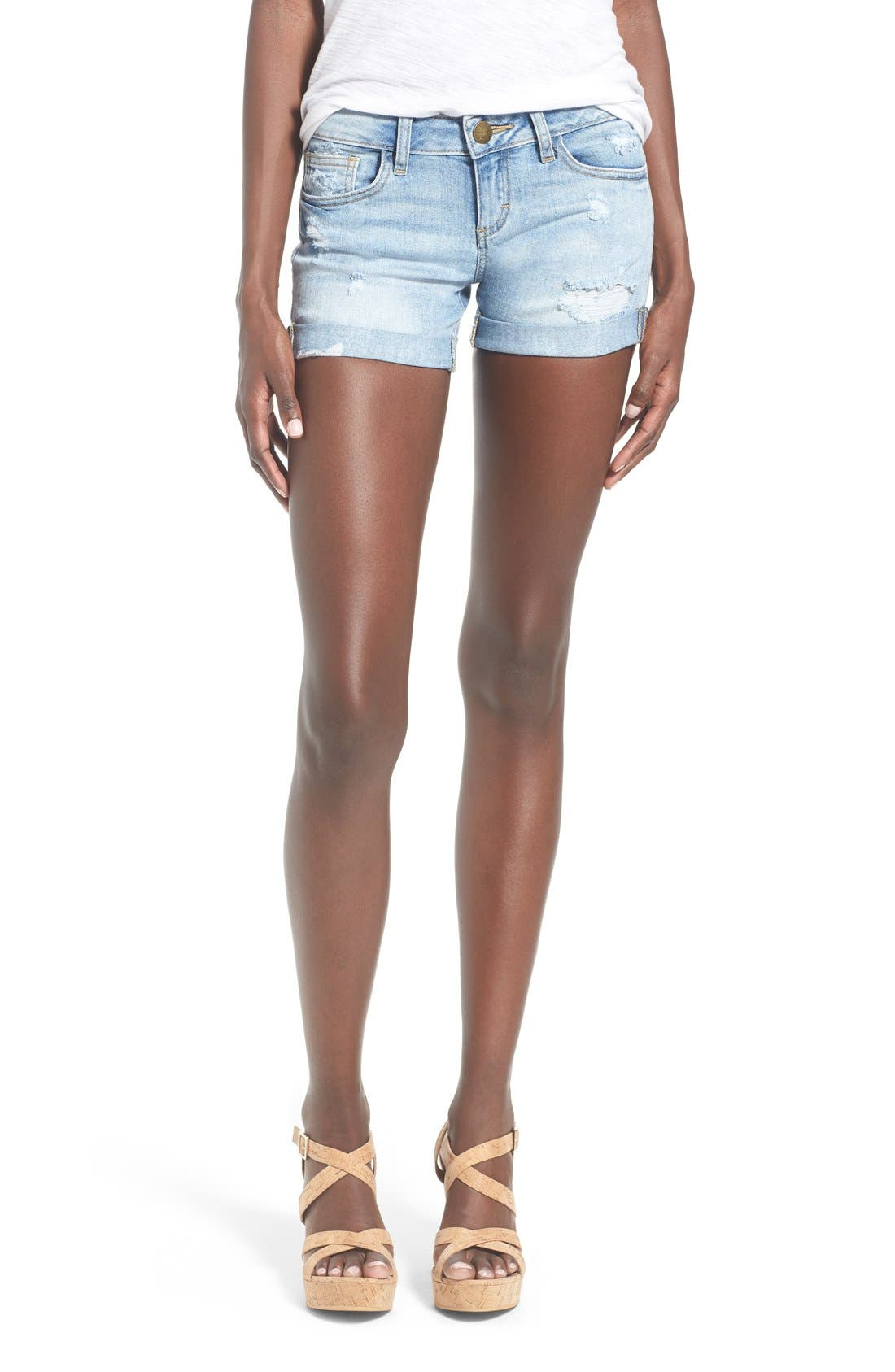 Distressed Rolled Denim Shorts,                             Main thumbnail 1, color,                             Light Wash
