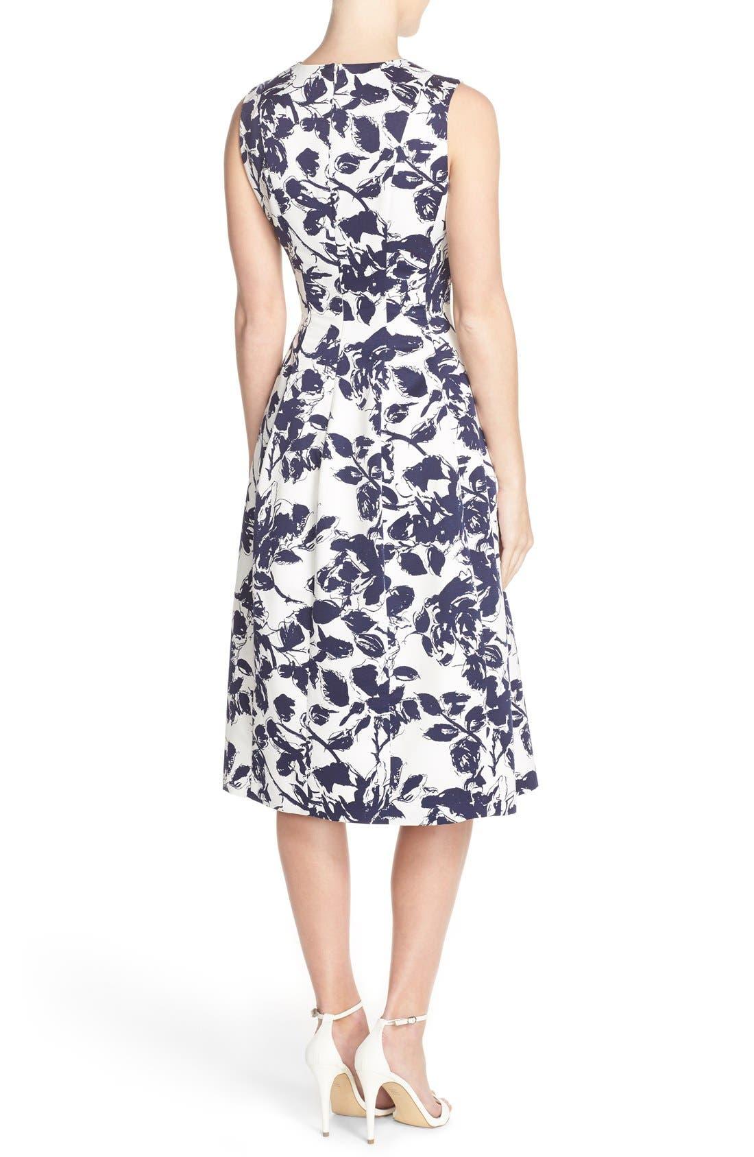 Floral Print Faille Midi Dress,                             Alternate thumbnail 2, color,                             Navy/ Ivory