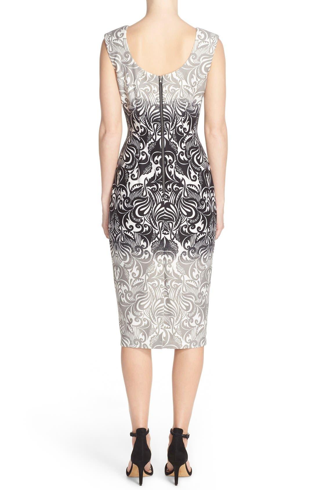 Alternate Image 2  - Gabby Skye Print Scuba Sheath Dress