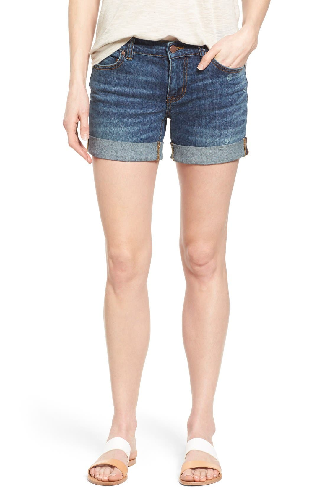Rolled Denim Boyfriend Shorts,                         Main,                         color, Medium Destruct