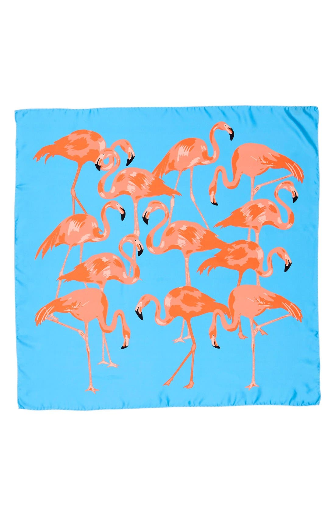 'Flamingo Flock' Silk Scarf,                             Alternate thumbnail 2, color,                             Pale Blue