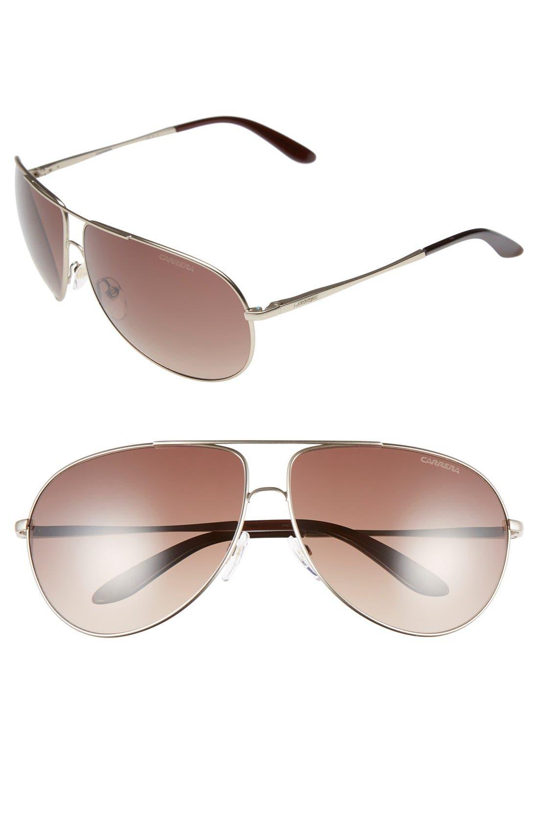64mm Aviator Sunglasses,                         Main,                         color, Semi Matte Gold