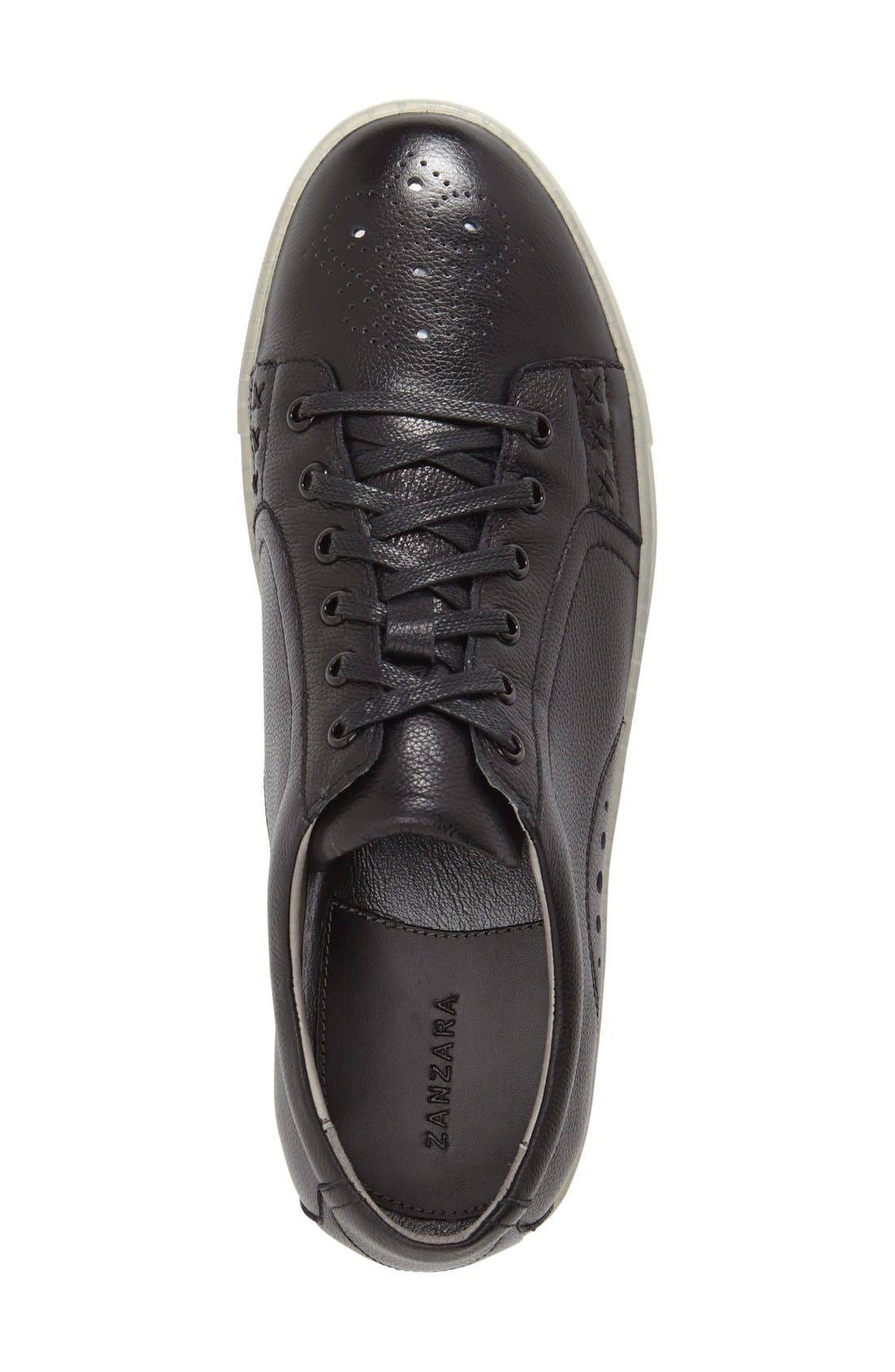 'Drum' Lace-Up Sneaker,                             Alternate thumbnail 3, color,                             Black Leather