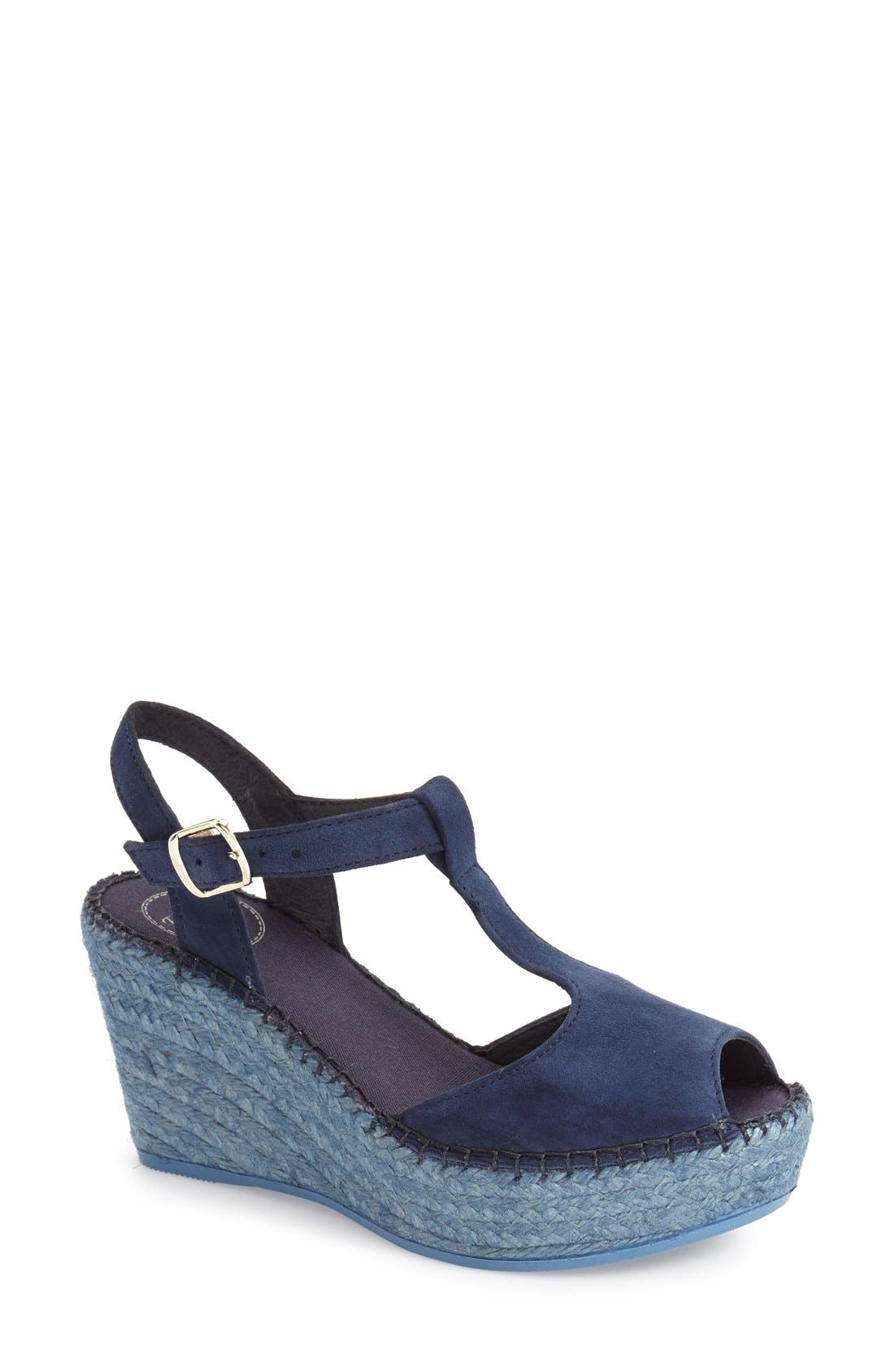 Lidia T-Strap Espadrille Wedge,                         Main,                         color, Navy Suede