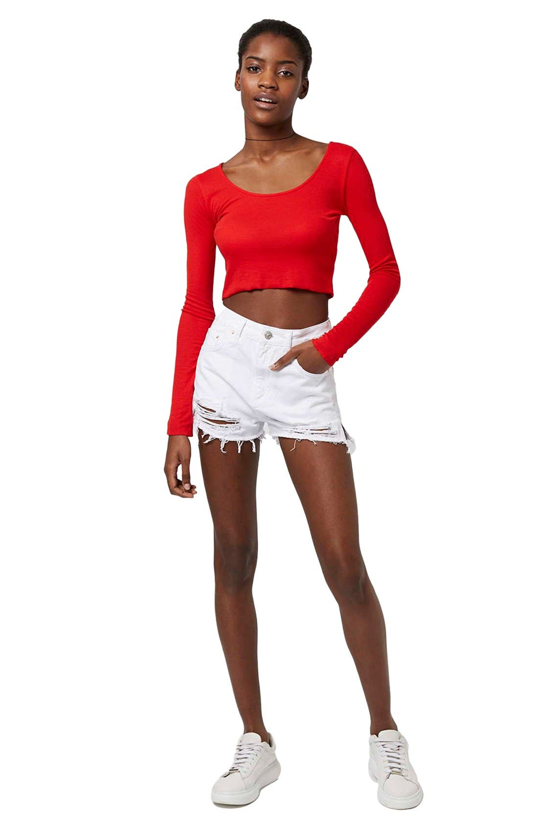Alternate Image 2  - Topshop High Rise Ripped Denim Shorts
