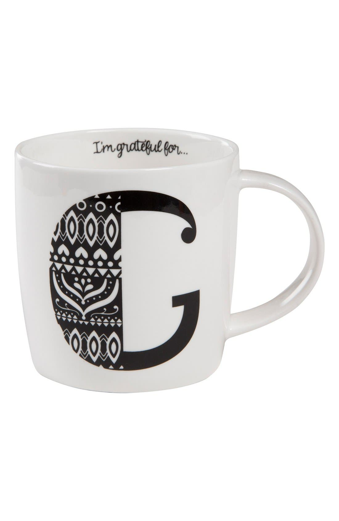 Initial Ceramic Mug,                         Main,                         color, White - G