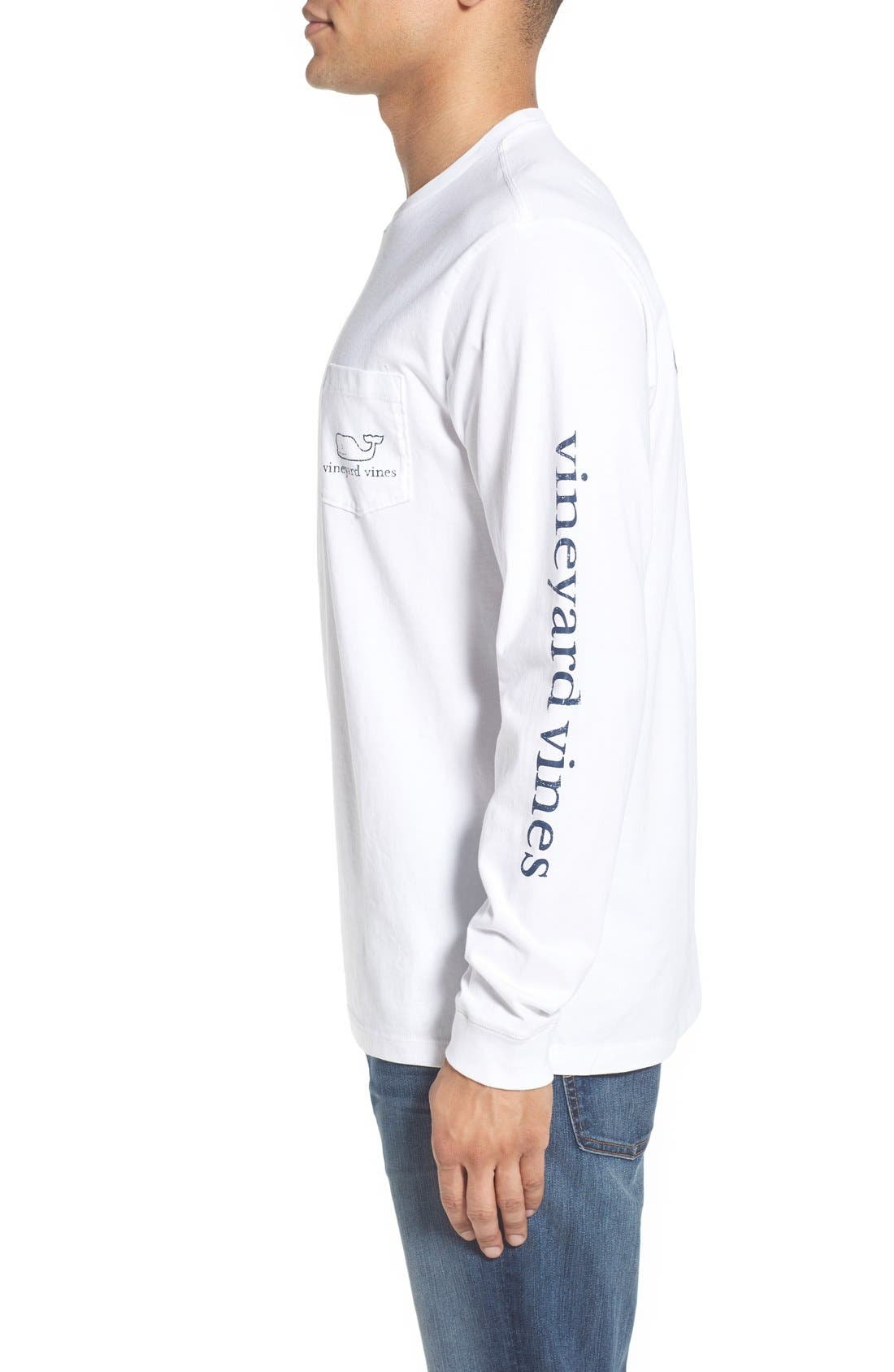 Pocket Long Sleeve T-Shirt,                             Alternate thumbnail 3, color,                             White Cap
