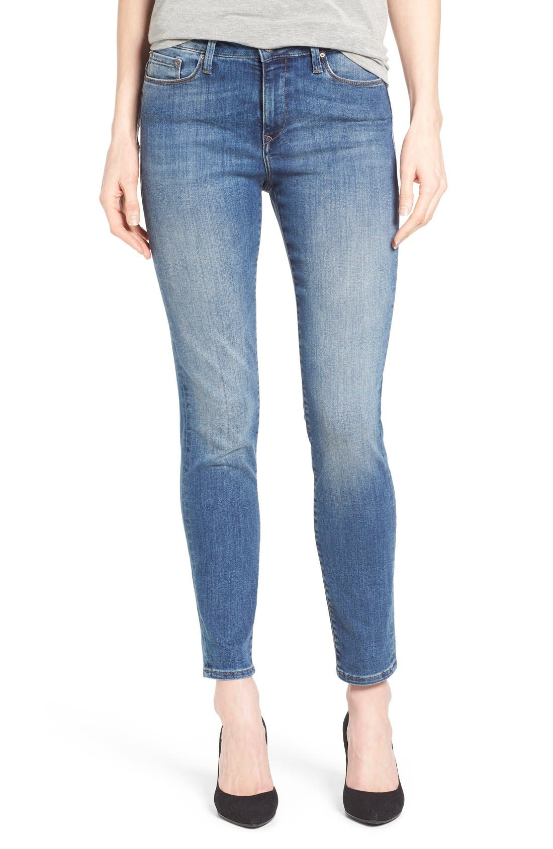 'Alissa' Stretch Slim Ankle Jeans,                             Main thumbnail 1, color,                             Light Blue