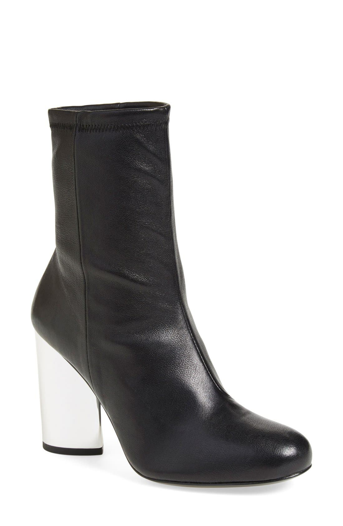 'Zloty' Round Toe Bootie,                             Main thumbnail 1, color,                             Black Leather