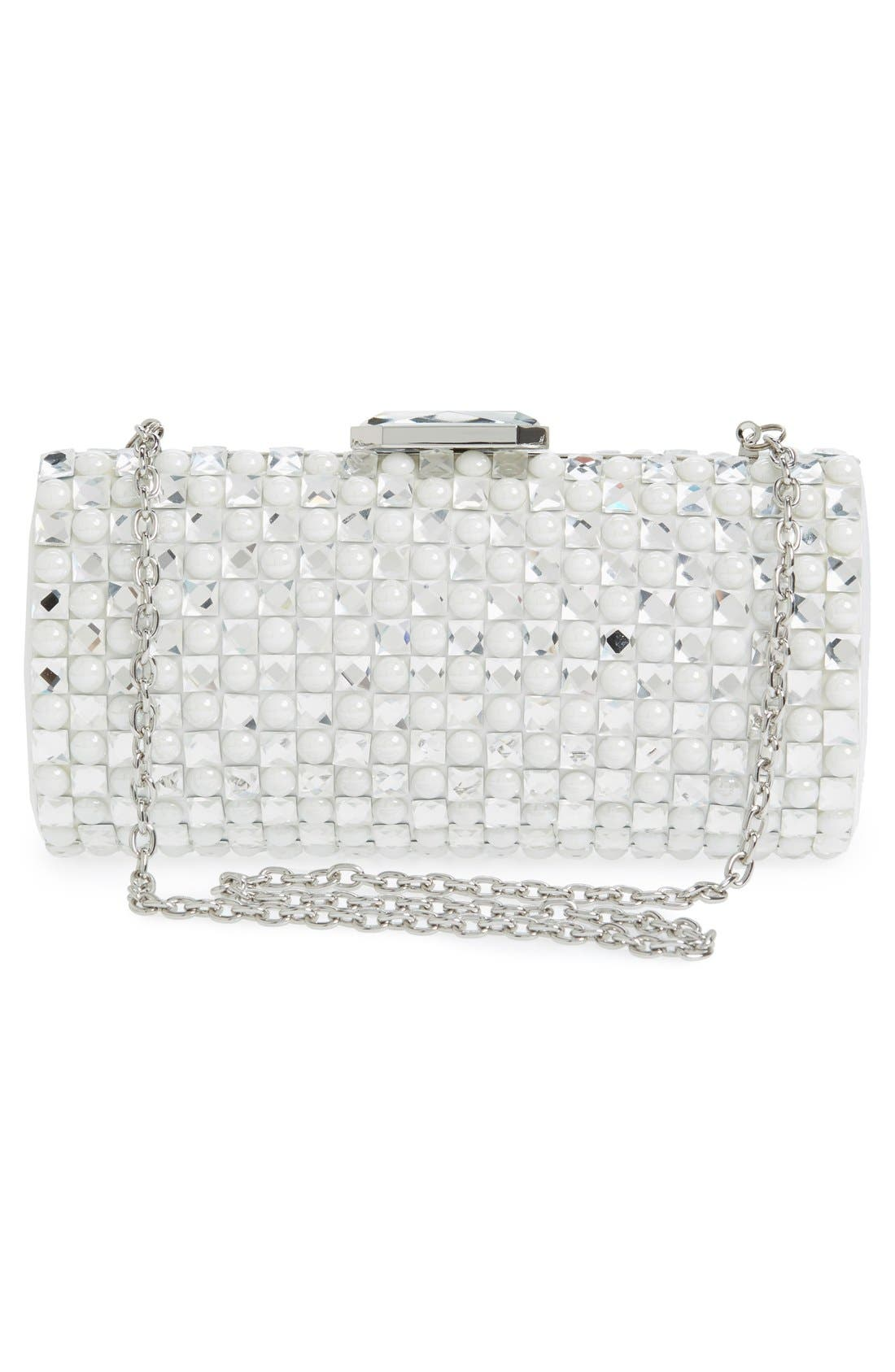 Crystal Clutch,                             Alternate thumbnail 3, color,                             Silver/White