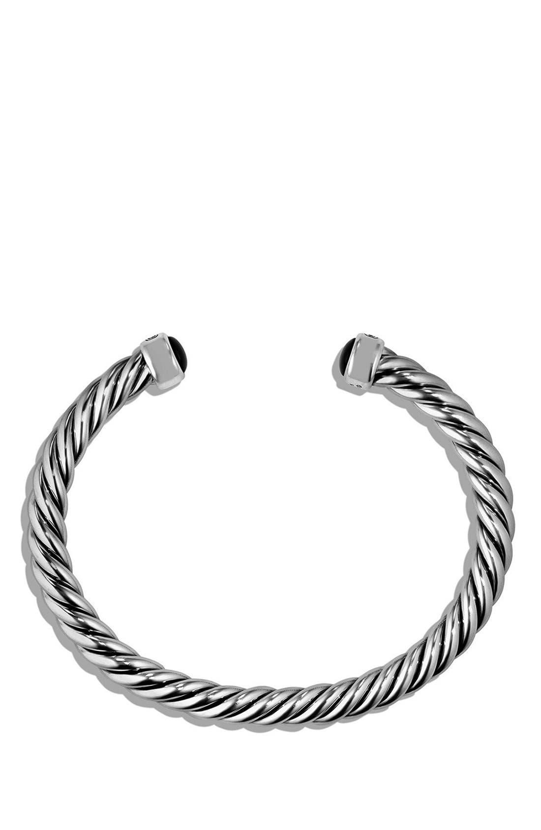 'Cable Classics' Cuff Bracelet,                             Alternate thumbnail 2, color,                             Silver/ Black Onyx