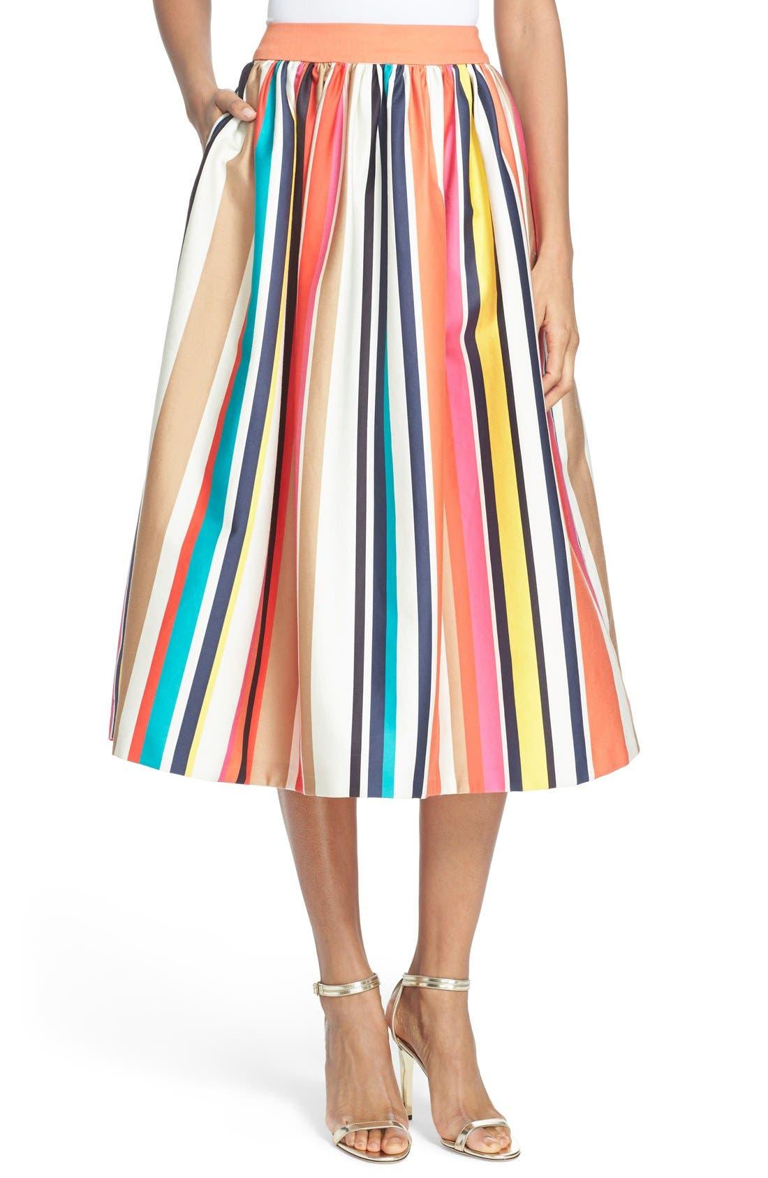 Main Image - Alice + Olivia 'Nikola' Stripe Midi Skirt