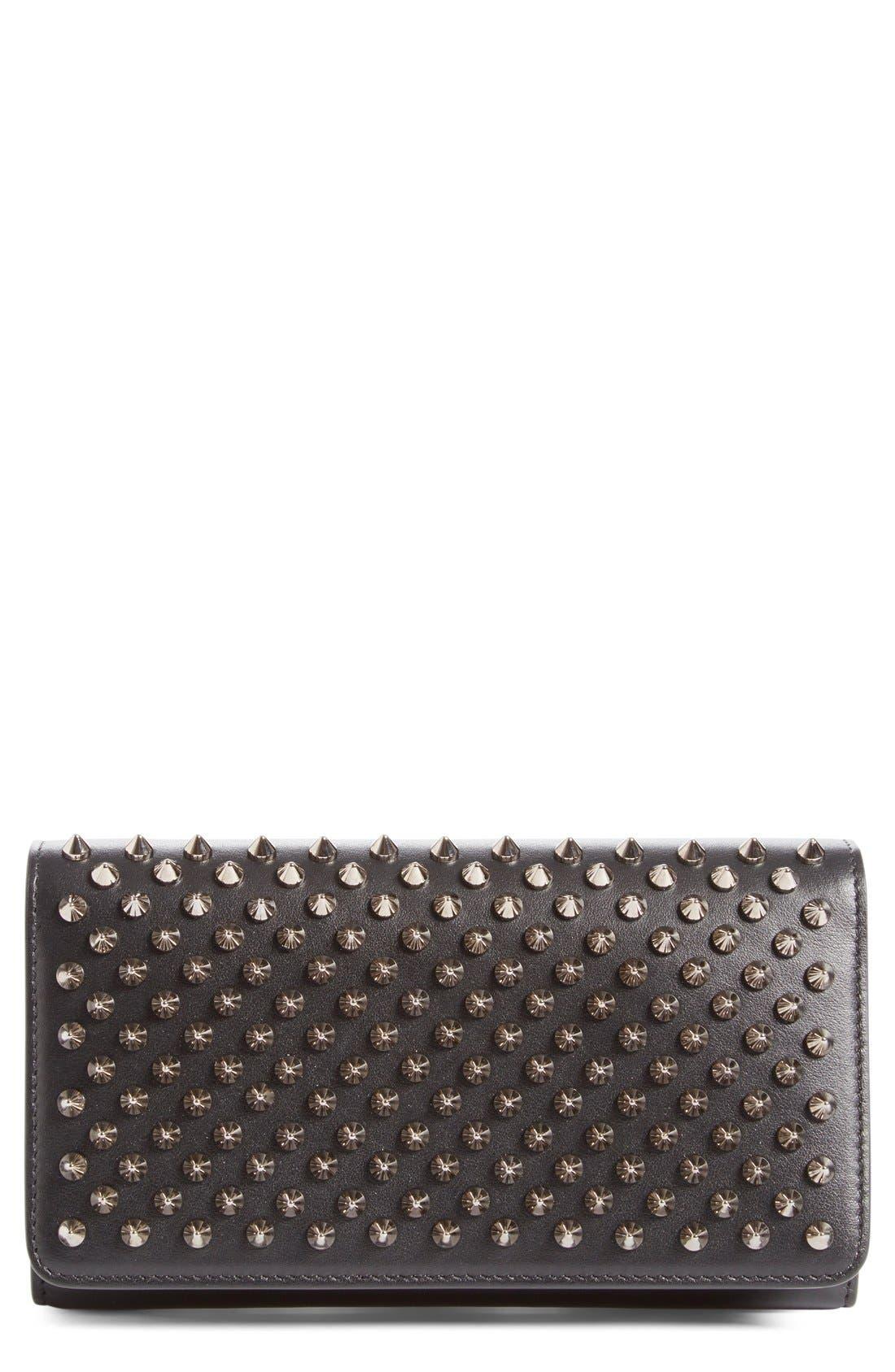 'Macaron' Studded Leather Continental Wallet,                             Main thumbnail 1, color,                             Black/ Gunmetal