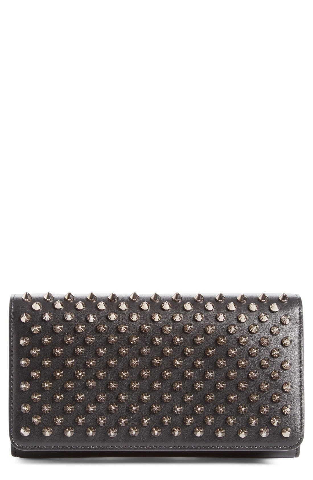 'Macaron' Studded Leather Continental Wallet,                         Main,                         color, Black/ Gunmetal
