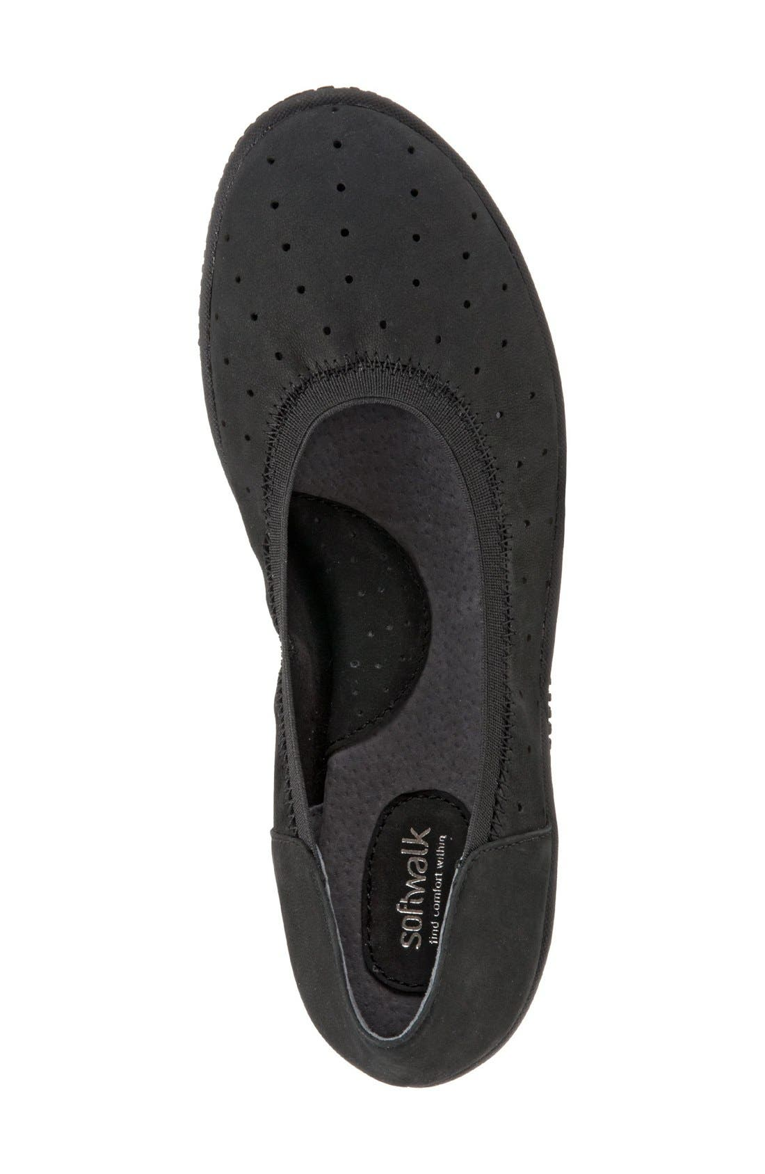 'Hampshire' Dot Perforated Ballet Flat,                             Alternate thumbnail 3, color,                             Black Nubuck