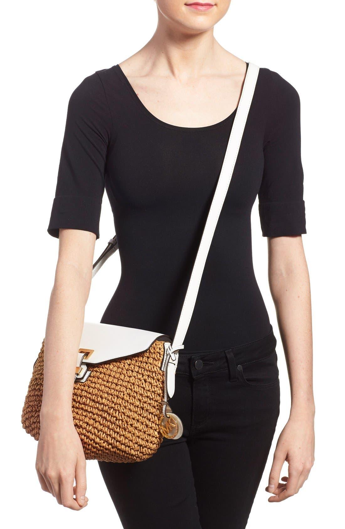 Alternate Image 2  - MICHAEL Michael Kors 'Medium Naomi' Straw & Leather Messenger Bag