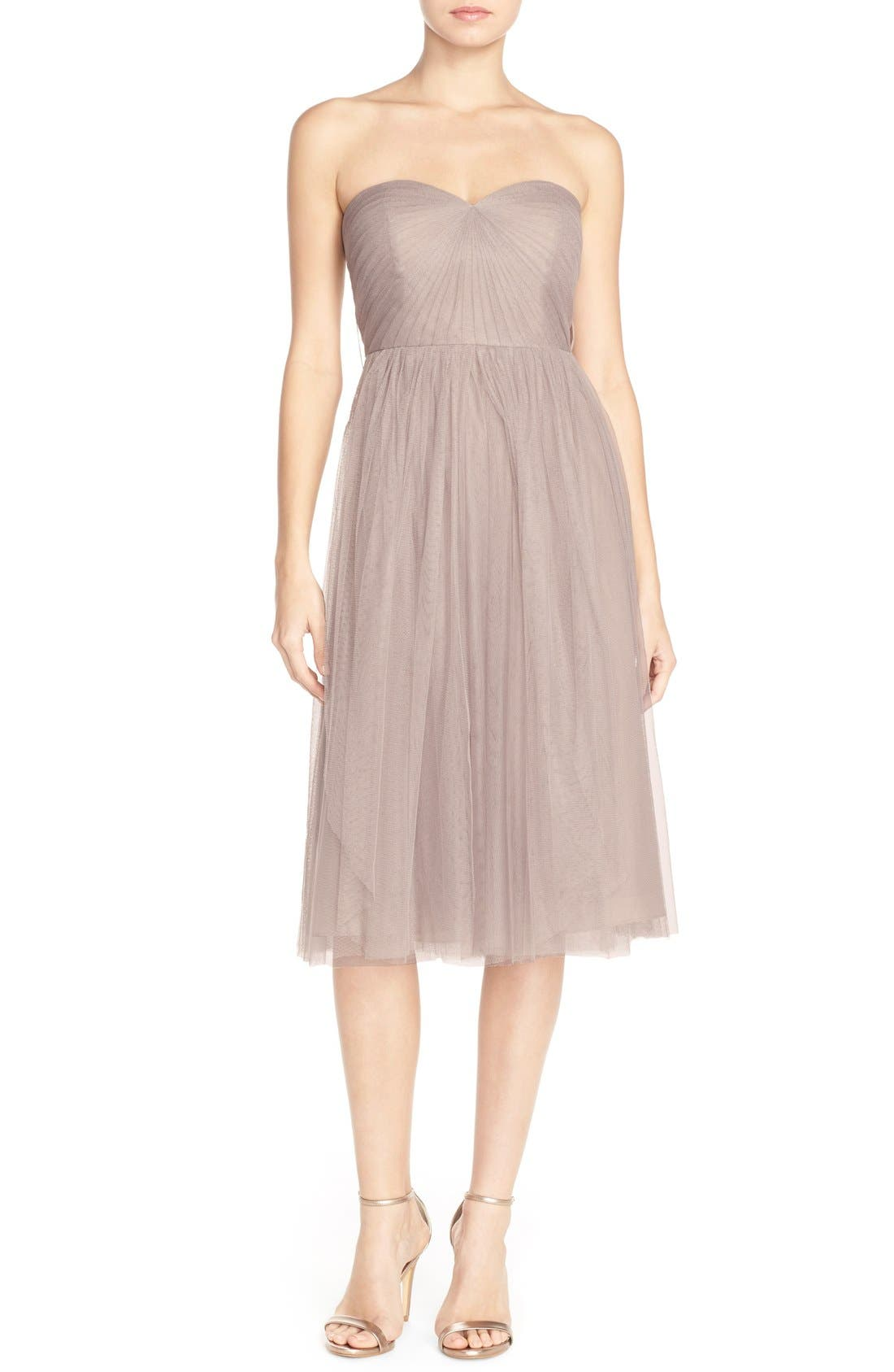 Maia Convertible Tulle Tea Length Fit & Flare Dress,                         Main,                         color, Mink Grey