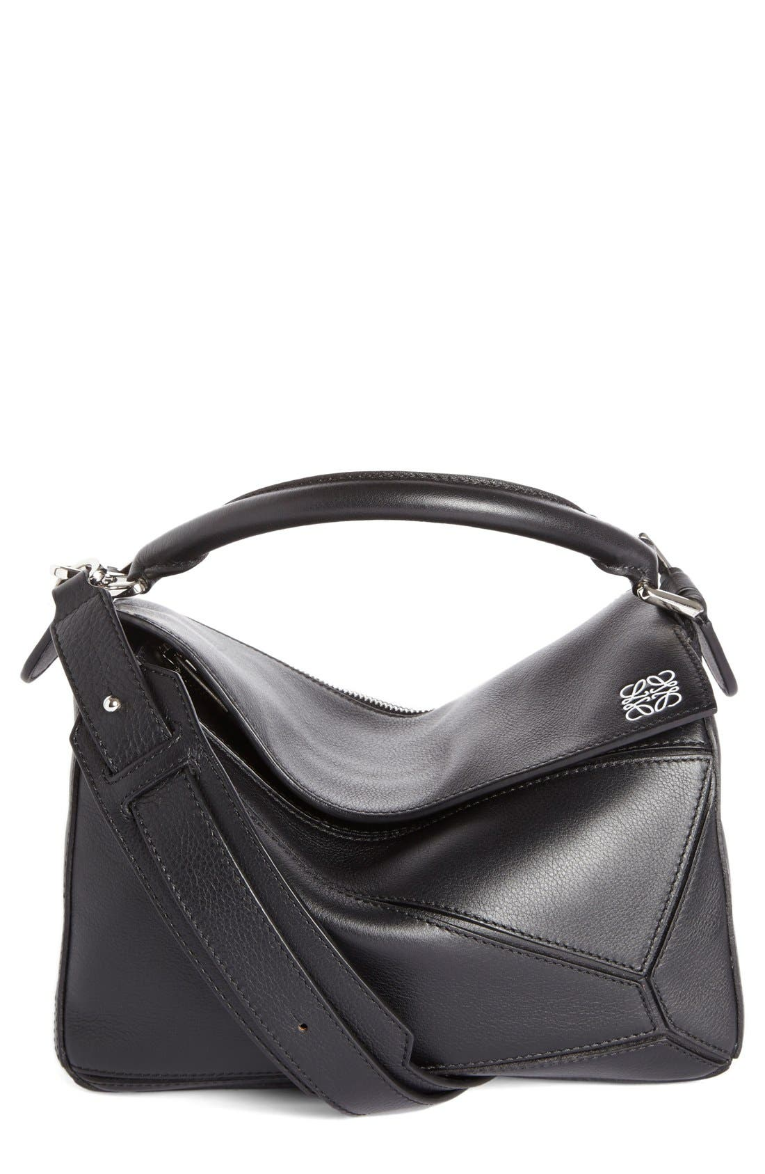 'Small Puzzle' Calfskin Leather Bag,                         Main,                         color, Black