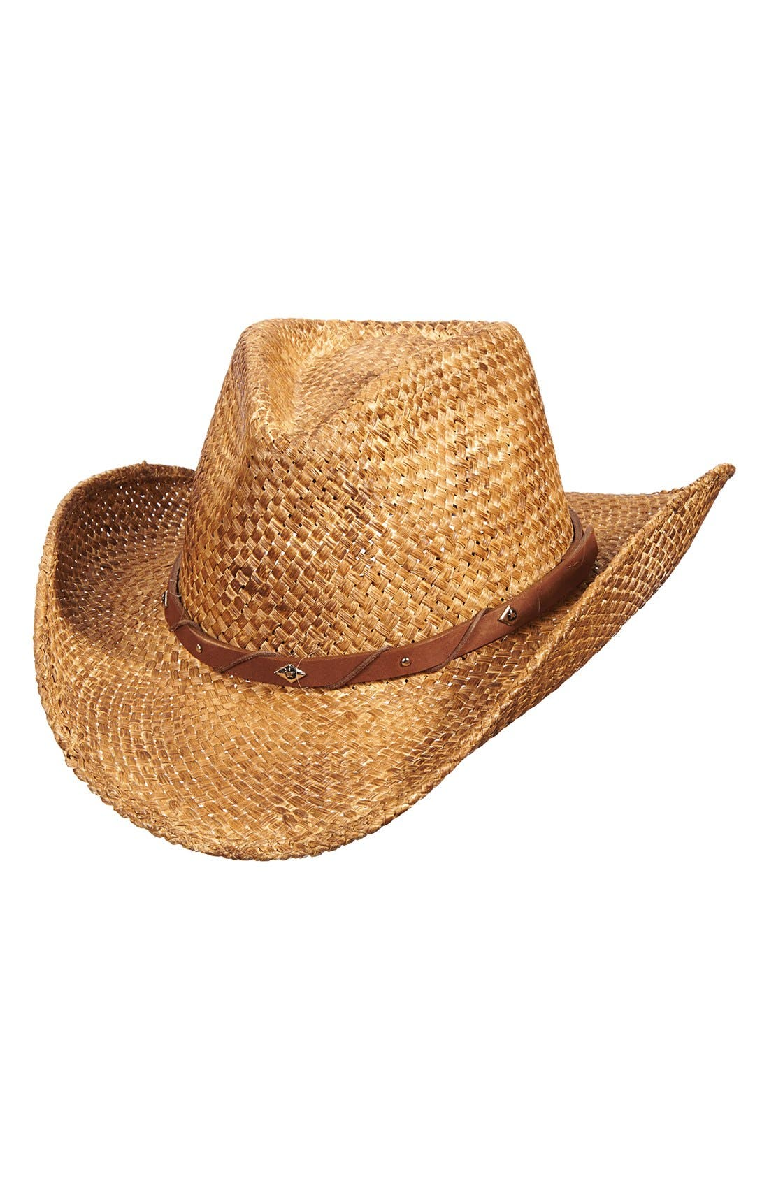 Straw Western Hat,                             Main thumbnail 1, color,                             Tea