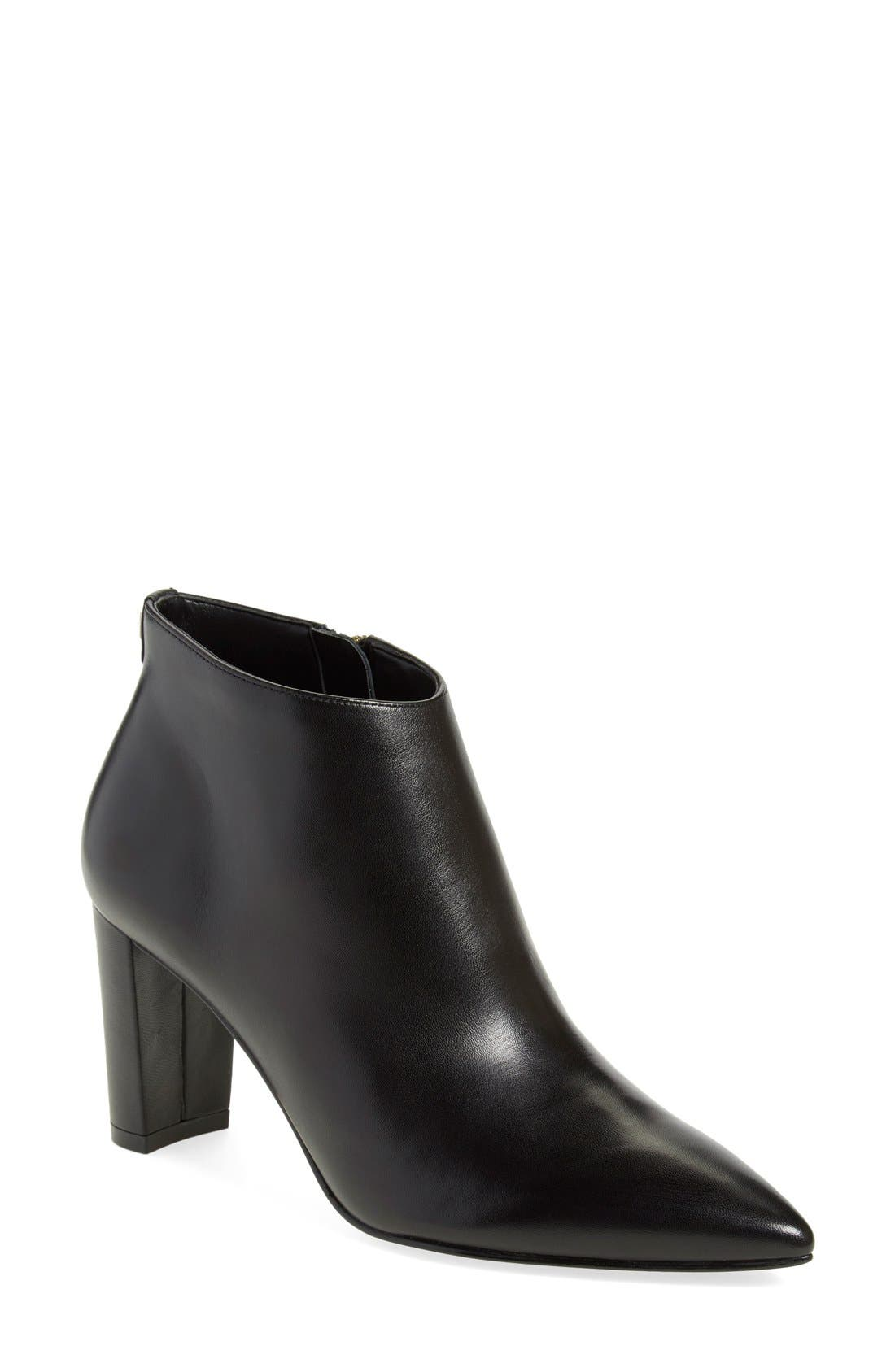 'Lettie' Pointy Toe Bootie,                             Main thumbnail 1, color,                             Black Leather