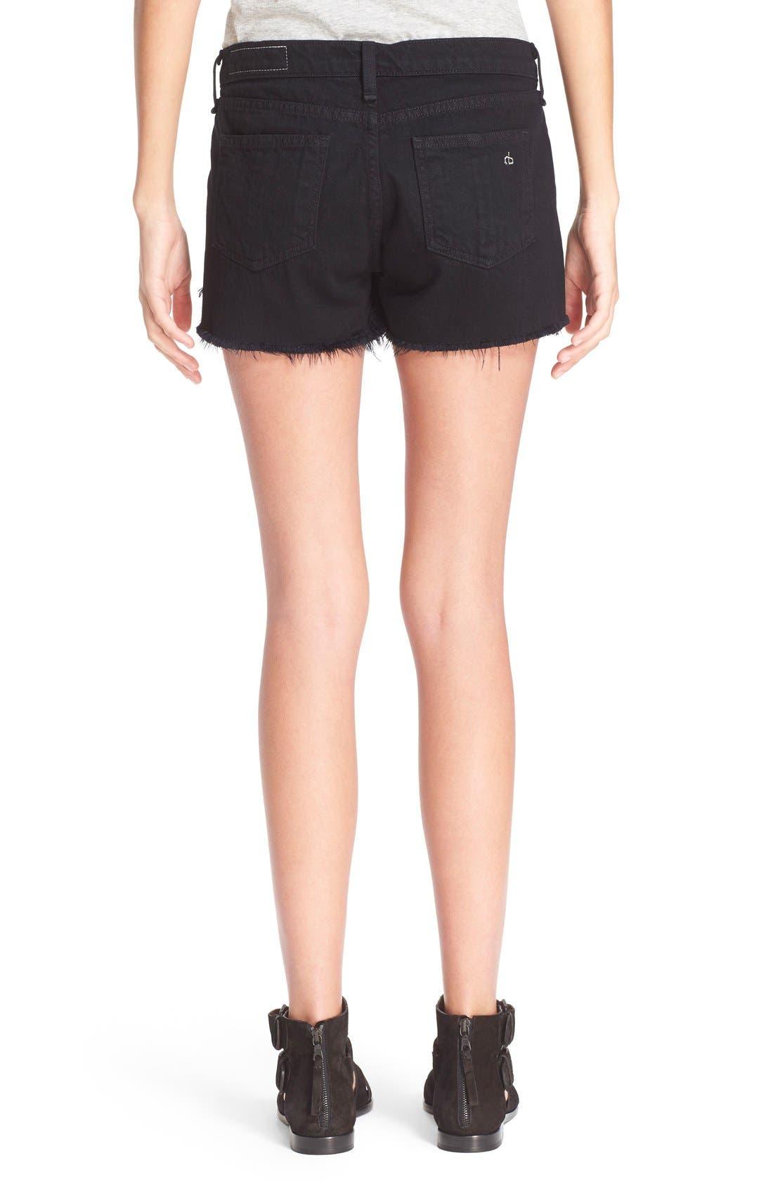 Cutoff Denim Shorts,                             Alternate thumbnail 2, color,                             Black Frpr