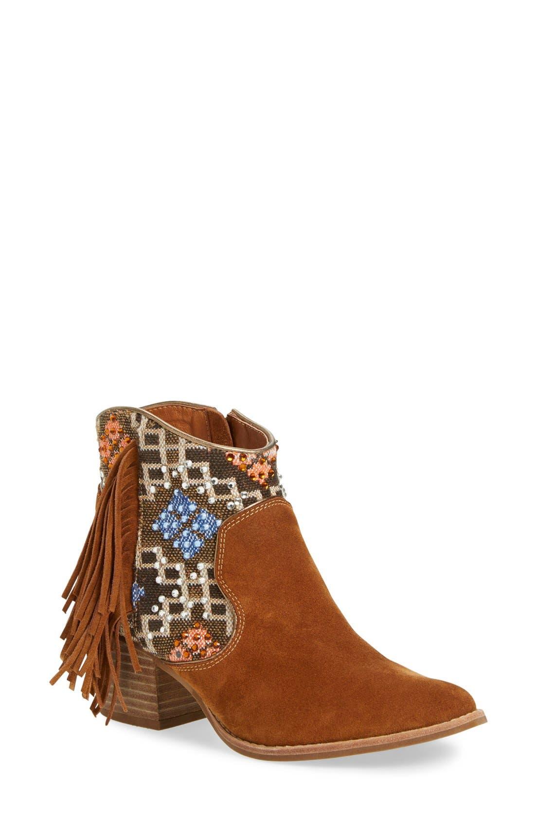 Main Image - ZiGi girl 'Odel' Embellished Fringe Bootie (Women)