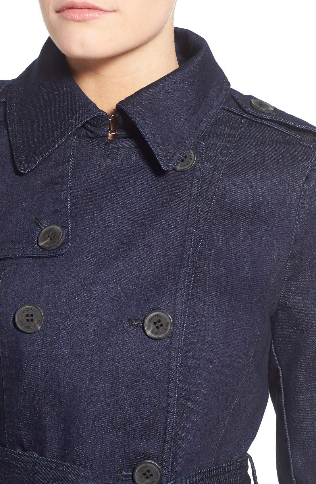 Alternate Image 4  - MICHAEL Michael Kors Double Breasted Denim Trench Coat