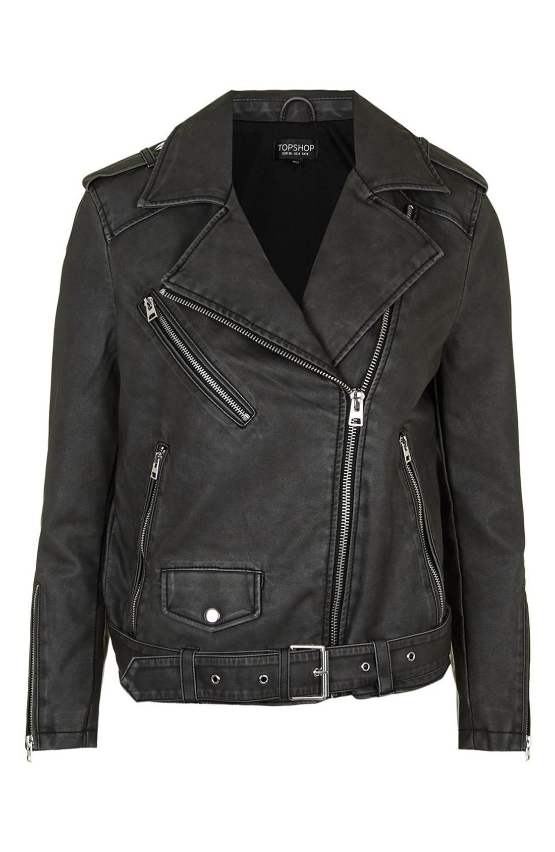 'Mahoney' Faux Leather Biker Jacket,                             Alternate thumbnail 4, color,                             Black