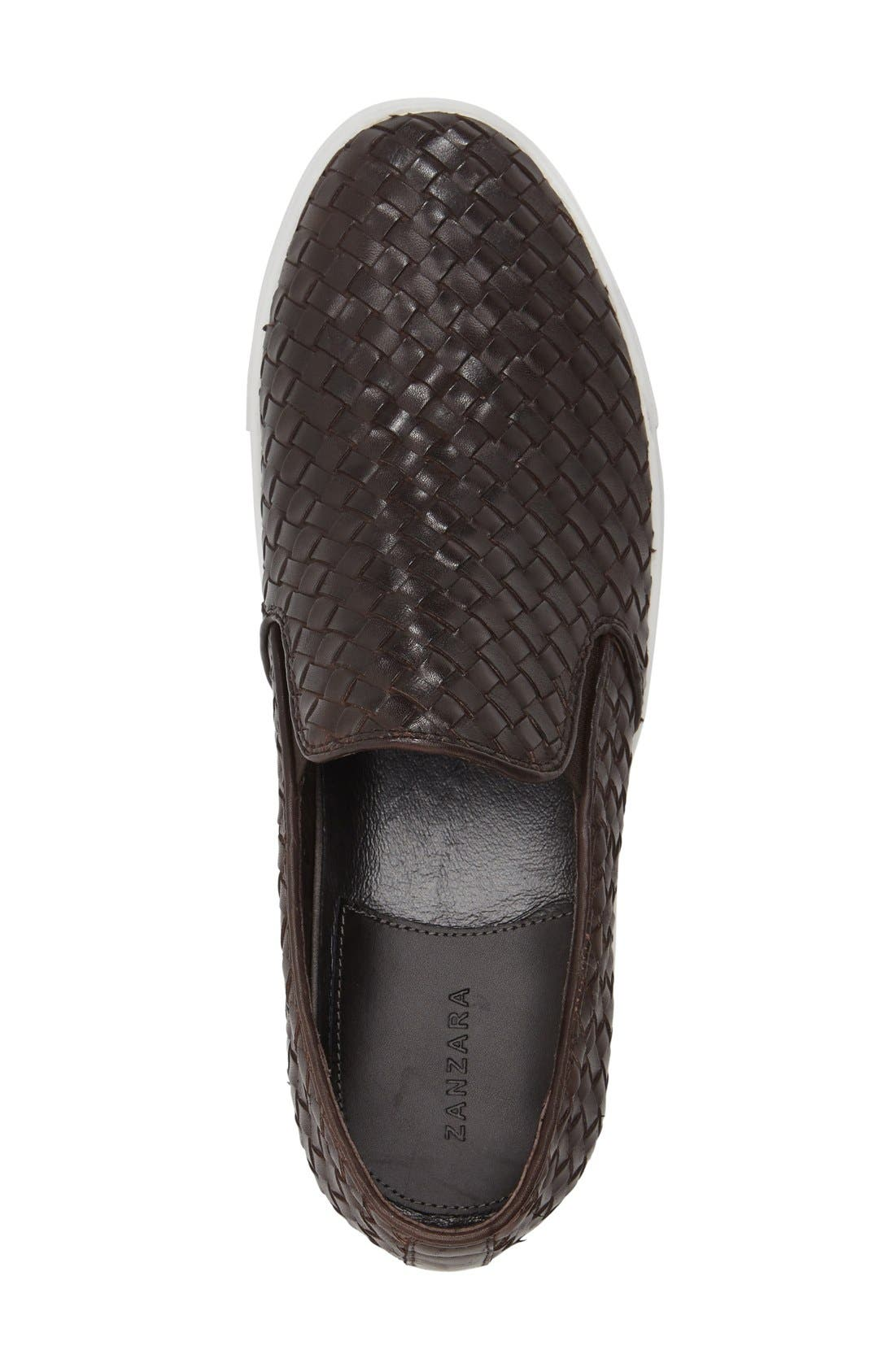 'Buzz' Slip-On Sneaker,                             Alternate thumbnail 3, color,                             Brown Leather