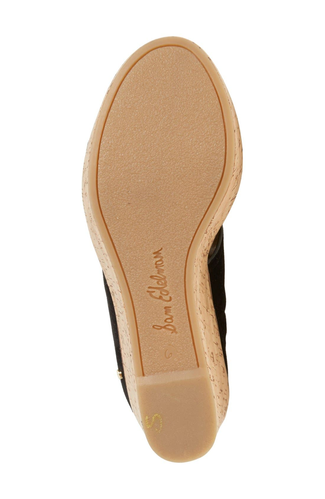 'Dali' Wedge Sandal,                             Alternate thumbnail 4, color,                             Black Suede