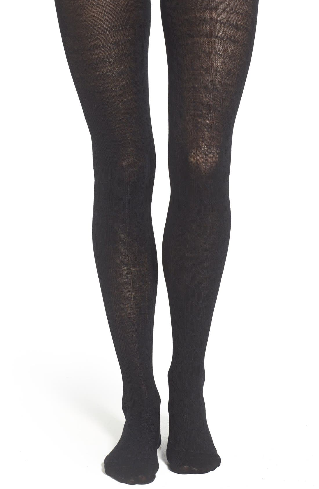 Cable Knit Tights,                         Main,                         color, Black